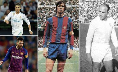Formacioni më i mirë në histori të La Ligas: Nga Cristiano Ronaldo te Lionel Messi, Johan Cruyff e Alfredo Di Stefano